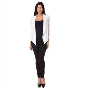Curvy Collection White Open Front Blazer